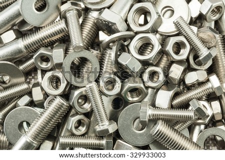 A mixture of nuts and bolts / Nuts and bolts mix