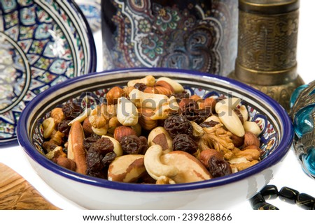 A mixture of nuts popular in Arabian countries