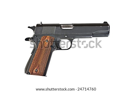 A 45 mm handgun with scratches  isolated on a white background