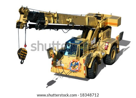 A mobile crane isolated in white