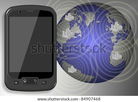 A mobile phone and Earth with cities connected by radio waves / Communication by mobile