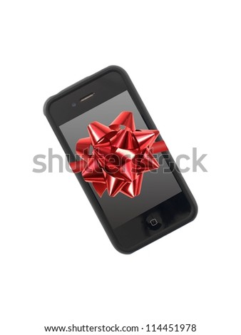 A mobile phone isolated against a white background