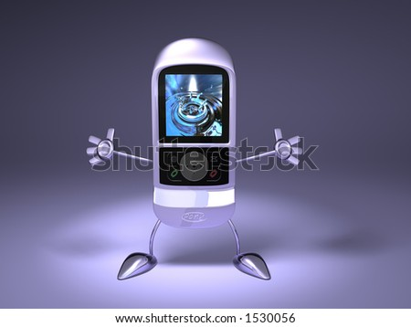 A mobile phone with feet