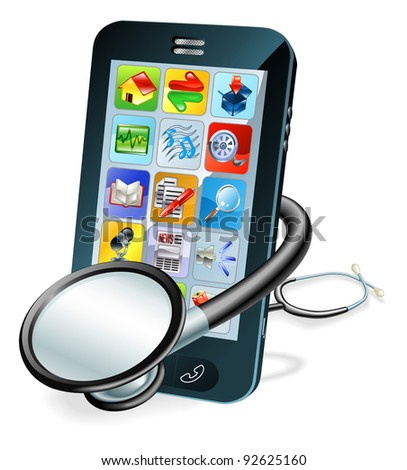 A mobile phone with stethoscope wrapped round it. Problem diagnosis concept