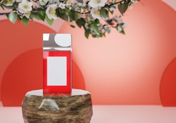 A mock up of blank realistic transparent glass spray bottle isolated on light red background, 3d rendering , 3D illustration