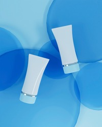 A mock up of realistic blank cosmetic tube isolated on bright blue background, 3d rendering , 3D illustration