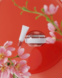 A mock up of realistic White blank cosmetic tube and jar isolated on floral background, 3d rendering , 3D illustration