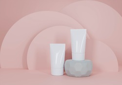A mock up of realistic White blank cosmetic tube isolated on light pink background, 3d rendering , 3D illustration