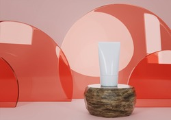 A mock up of realistic White blank cosmetic tube isolated on light red background, 3d rendering , 3D illustration