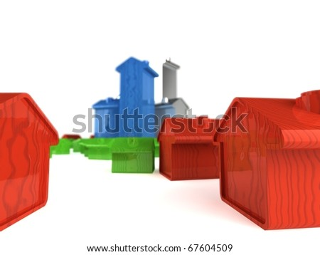 A model of a city with suburban houses in red; iner city houses in green; and high rise buildings in blue and silver. With depth of field + set against a product stage background