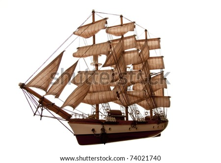 A model of an old clipper on a white background.  silhouette