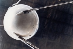 A model of Sputnik 1, the first human-made object in space. The Earth-orbiting artificial satellite was launched by the Soviet Union on October 4, 1957.