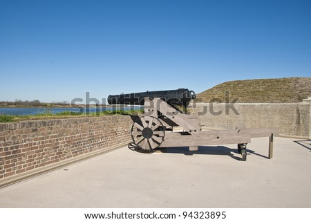 A Model 1846 32 Pound Cannon on the rampart of Fort James Jackson in Savannah Georgia.