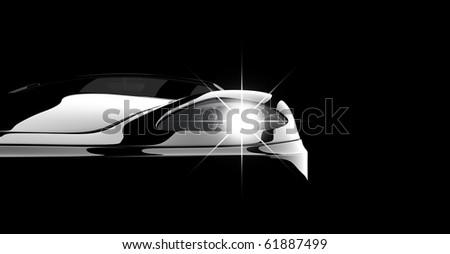 A modern and elegant black car illuminated - stock photo