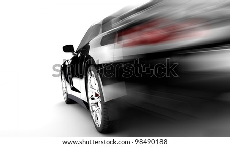 A modern and elegant black car is running