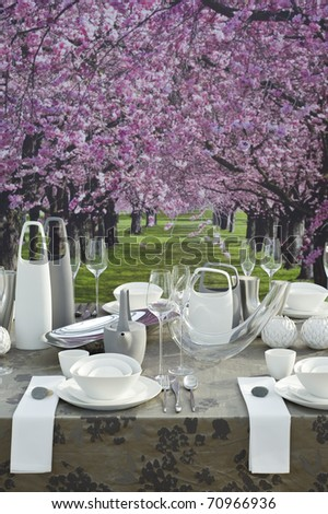 A modern and festive decorated table with white coffee dishware for celebration event in springtime, table in front of beautiful arcade of pink blooming trees