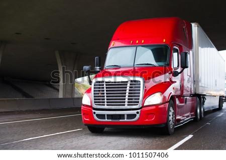 a modern big rig semi truck for ...