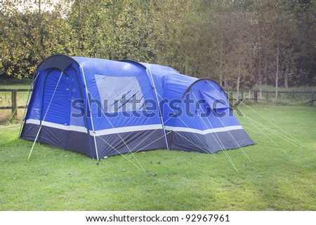 a modern blue tent that sleeps 4 people