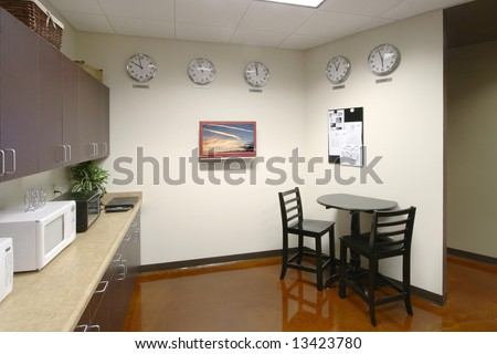 A modern break room in a new office