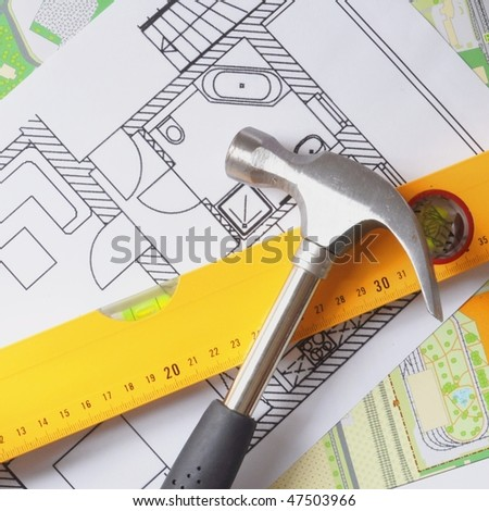 Modern building design with construction tools stock photo