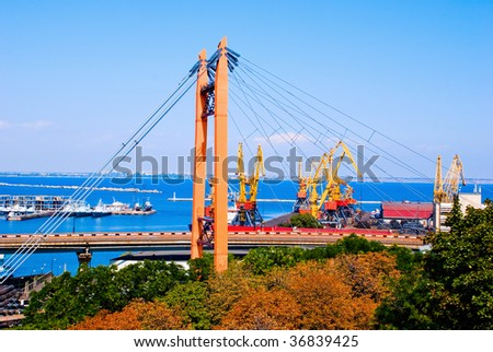 A modern cargo port with cranes