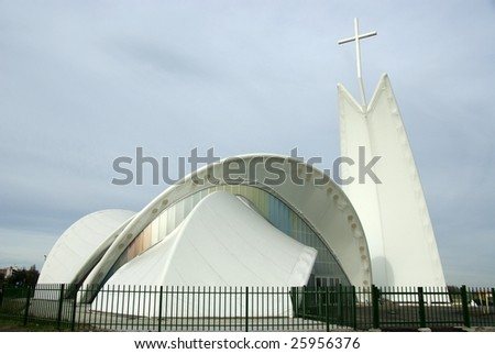 A modern church built with synthetic materials - stock photo