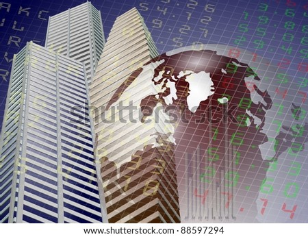 A modern city buildings with Earth and stock exchange board in the background / Global stock exchange