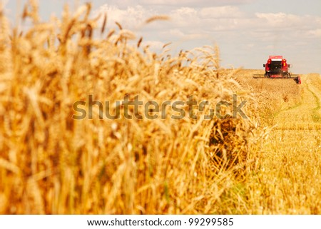 A modern combine harvester working a wheat field.