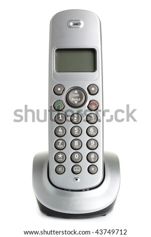 A modern, cordless home phone, isolated on a white background.