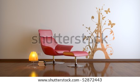 a modern 3d interior composition