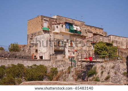 A modern-day structure built on the ruins of Herculaneum in the Bay of Naples, Italy
