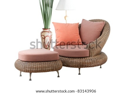 A modern design of rattan sofa and stool with beautiful cushion