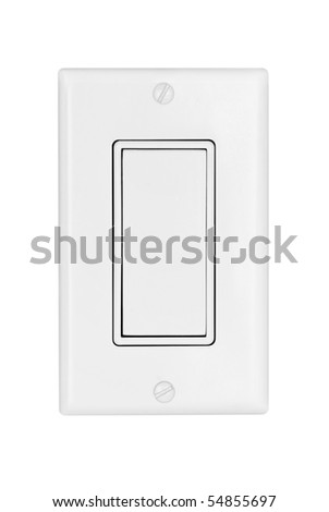 A modern electrical light switch isolated on white