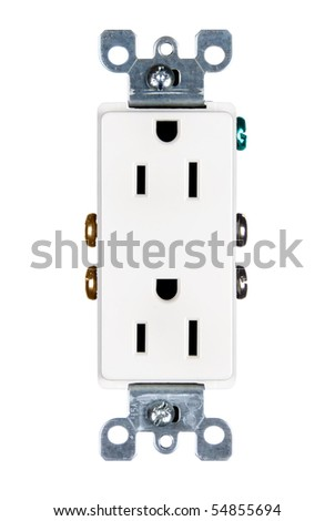 A modern electrical power outlet isolated on white.