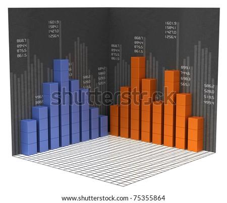 A modern financial bar charts and graphs