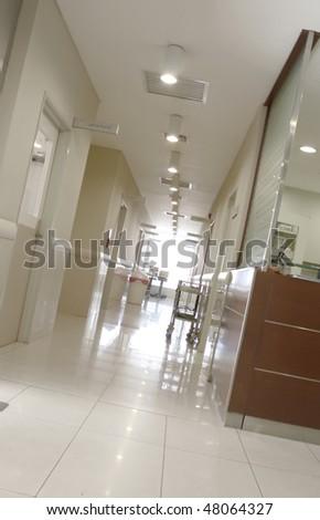 A modern hospital corridor