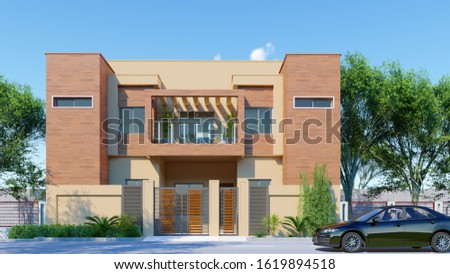 A modern house exterior rendering