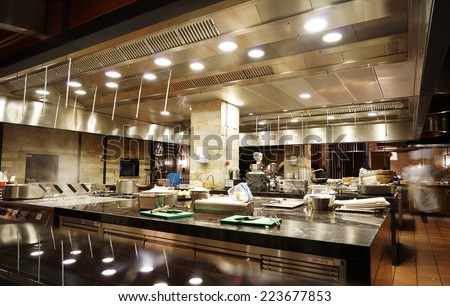 A modern kitchen in a hotel or restaurant Stock photo ©