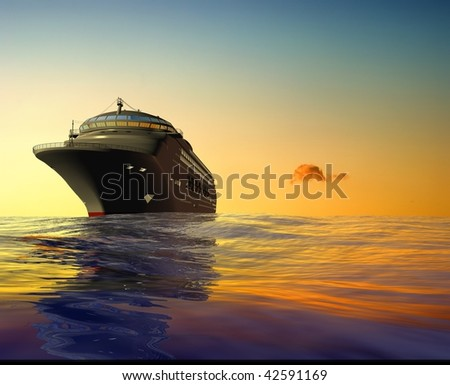 A modern liner  is in an ocean - stock photo