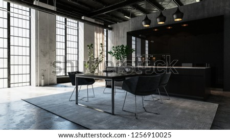 A modern, luxurious, industrial style dining area with bright horizontal windows. 3d Rendering