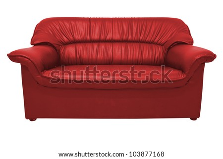 A modern red leather sofa isolated on the white with clipping path