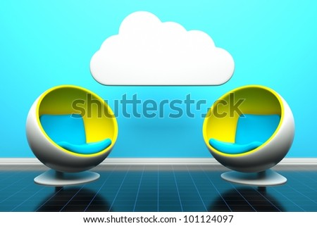 a modern room with two round chairs  and cloud as a communication concept