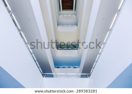 A modern stairwell, built structure from bottom position