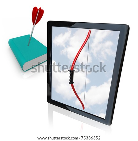 A modern tablet computer or e-reader displays a bow on its screen, having killed a traditional book by shooting an arrow into its cover