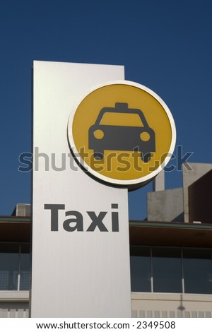 A modern taxi stand sign in Barcelona