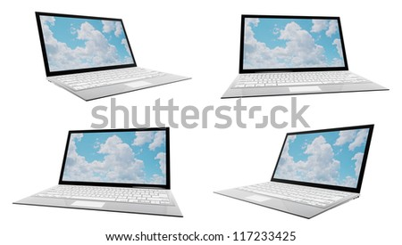 A modern ultra thin laptop, with 4 different angles, isolated on white.  Note to reviewer: photo on screen is made by designer.
