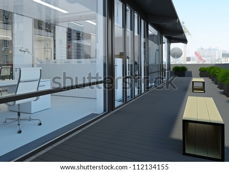A modern white office with terraces and open spaces