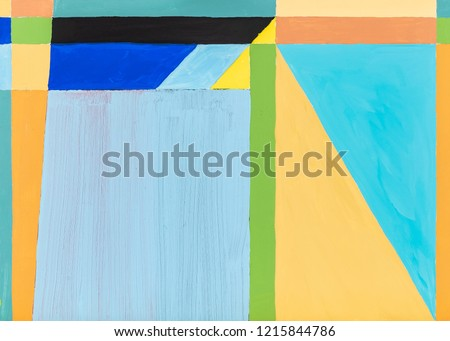 A Modernist Geometric Abstraction; Painting with Warm and Cool Colors.