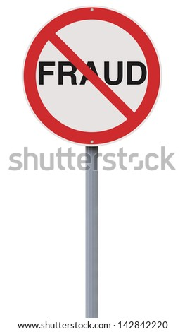 A modified road sign on Fraud
