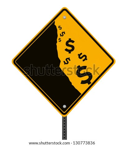 A modified road sign on the dollar currency falling off a cliff (isolated with clipping path)